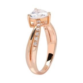 Emotions 18k Rose Gold Over Silver Cubic Zirconia Heart Ring