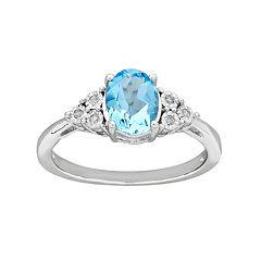 DIAMORESterling Silver Blue Topaz & Diamond Accent Ring