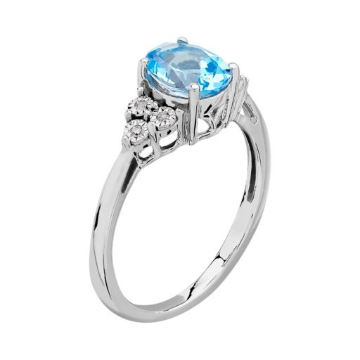 DIAMORE Sterling Silver Blue Topaz & Diamond Accent Ring