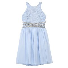 Girls 7-16 Speechless Lace Chiffon Beaded Waist Dress