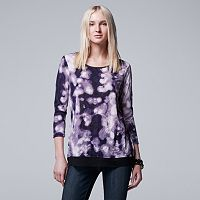 Women's Simply Vera Vera Wang Chiffon Trim Print Top