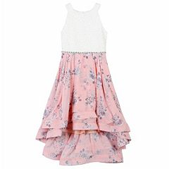 Girls 7-16 Speechless Lace & Print High-Low Hem Dress