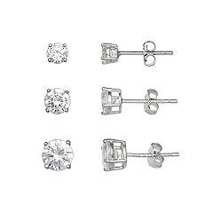 PRIMROSE Sterling Silver 3-Pair Cubic Zirconia Stud Earring Set