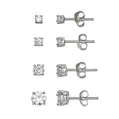 PRIMROSE Sterling Silver 4-Pair Cubic Zirconia Stud Earring Set