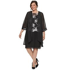 Plus Size Le Bos Sequin Dress & Jacket Set