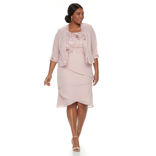 Plus Size Le Bos Embroidered Tiered Evening Dress & Jacket ...