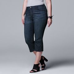 Plus Size Simply Vera Vera Wang Side Slit Denim Capris