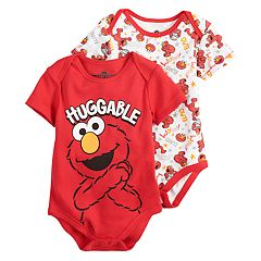 Baby Boy Sesame Street Elmo 2-Pack 'Huggable' Bodysuit Set