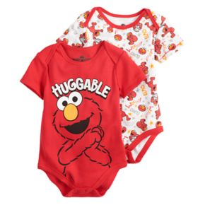 "Baby Boy Sesame Street Elmo 2-Pack ""Huggable"" Bodysuit Set"