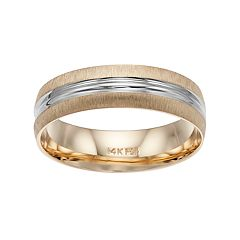 Men's Two Tone 14k Gold Striped Wedding Band