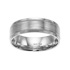 Men's 14k White Gold Milgrain Wedding Band