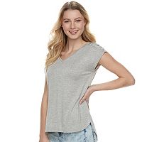Juniors' Pink Republic Lace-Up Shoulder Solid Tee