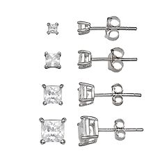PRIMROSE Sterling Silver 4-Pair Square Cubic Zirconia Stud Earring Set