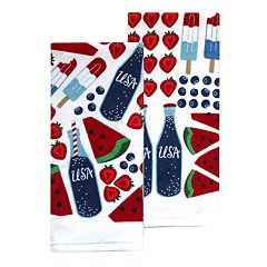 Celebrate Americana Together Snack Toss Kitchen Towel 2-pack
