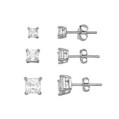 PRIMROSE Sterling Silver 3-Pair Square Cubic Zirconia Stud Earring Set