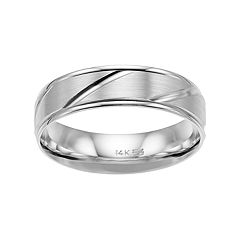 Men's 14k White Gold Diagonal Striped Wedding Band