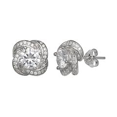 PRIMROSE Sterling Silver Cubic Zirconia Love Knot Stud Earrings
