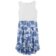 Girls 7-16 Speechless Lace Top High-Low Flounce Paisley Print Dress