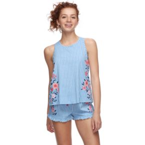 Juniors' Peace, Love & Fashion Tank & Boxer Shorts Pajama Set
