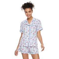 Juniors' Peace, Love & Fashion Printed Shirt & Boxer Shorts Pajama Set