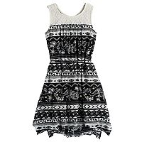 Girls 7-16 Mudd® Print Handkerchief-Hem Dress