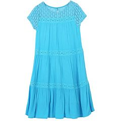 Girls 7-16 Speechless Tiered Lace Trim Dress