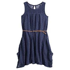 Girls 7-16 Mudd® Lace Handkerchief-Hem Dress