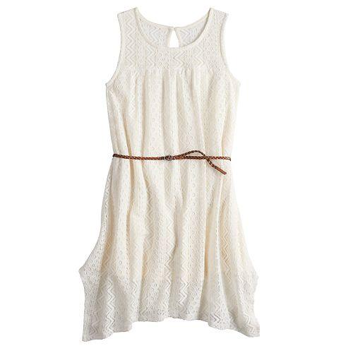 Girls 7-16 Mudd® Lace Handkerchief-Hem Dress