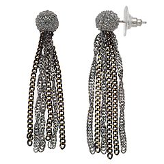 Simply Vera Vera Wang Tri Tone Tassel Chain Earrings