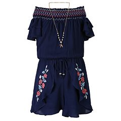 Girls 7-16 Speechless Embroidered Skirted Romper with Necklace
