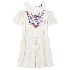 Girls 7-16 Speechless Embroidered Cold Shoulder Romper