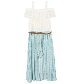 Girls 7-16 Speechless Cold Shoulder Lace Print Belted Maxi Romper