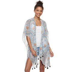 Women's Mudd® Medallion Print Tasseled Kimono