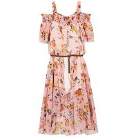 Girls 7-16 Speechless Floral & Striped Cold Shoulder Belted Walkthrough Dress