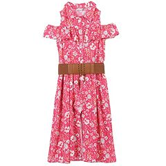 Girls 7-16 Speechless Floral Print Cold Shoulder Belted Walkthrough Dress