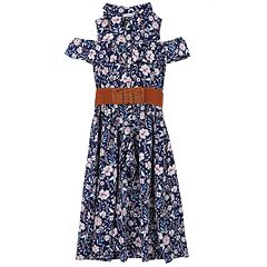 Girls 7-16 Speechless Floral Print Cold Shoulder Belted Maxi Romper