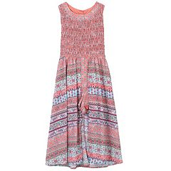 Girls 7-16 Speechless Smocked Patterned Maxi Romper