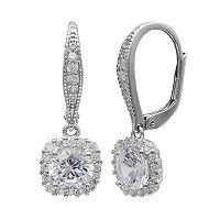 PRIMROSE Sterling Silver Cubic Zirconia Square Drop Leverback Earrings