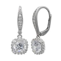 PRIMROSE Sterling Silver Cubic Zirconia Square Drop Leverback Earrings