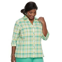 Plus Size Alfred Dunner Studio Plaid Button Front Top