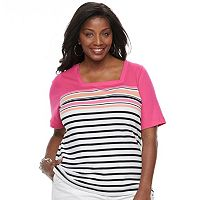 Plus Size Croft & Barrow® Squareneck Elbow Sleeve Tee