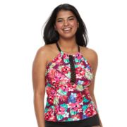 Plus Size Mix and Match Floral High-Neck Tankini Top