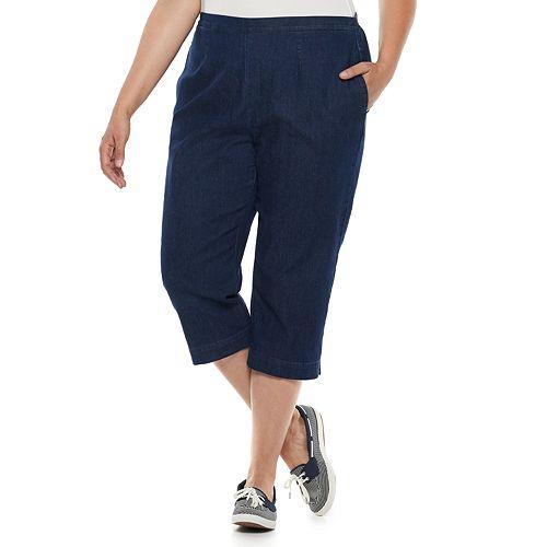 6fc9f5fb11a Plus Size Alfred Dunner Studio Pull-On Denim Capri Pants