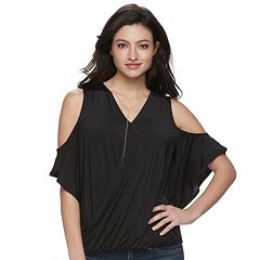 Women's Jennifer Lopez Cold-Shoulder Necklace Top