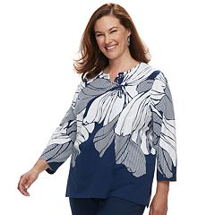 Plus Size Alfred Dunner Studio Floral Studded Top