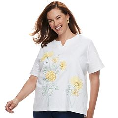 Plus Size Alfred Dunner Studio Floral Embroidery Top