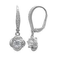 PRIMROSE Sterling Silver Cubic Zirconia Love Knot Drop Earrings