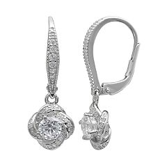 PRIMROSE Sterling Silver Cubic Zirconia Love Knot Drop Earrings