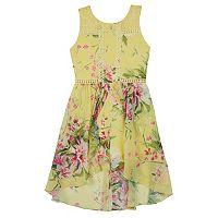 Girls 7-16 IZ Amy Byer Sleeveless Floral Print Crochet High-Low Hem Skater Dress