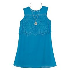 Girls 7-16 IZ Amy Byer Sleeveless Lace Popover Dress with Necklace